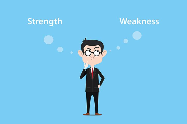 cartoon man in a suit thinking between strengths and weaknesses