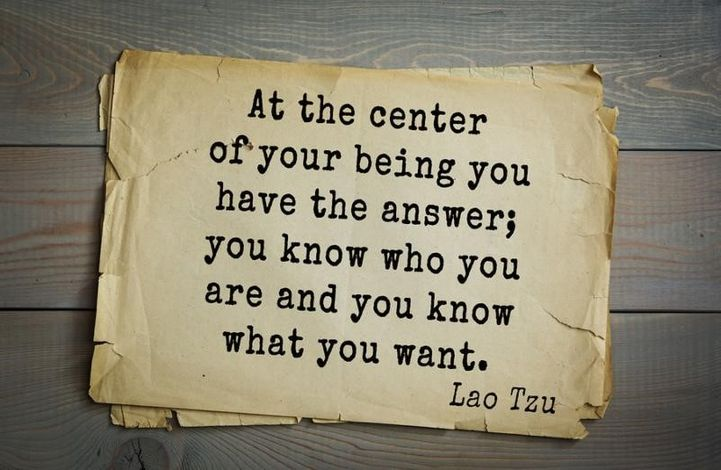 at the center of your being you have the answers; you know who you are and you know what you want
